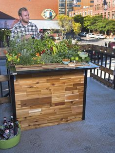 Discover our reclaimed wood butcher block patio planter and small outdoor bar. You can harvest fresh herbs for your cocktails as you relax at the bar! Tall Planters, Wooden Planters, Patio Design, Garden Design, Exterior Design, Indoor Outdoor, Outdoor Living, Outdoor Ideas, Outdoor Balcony