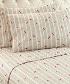 "Look what I found on #zulily! Cardinal Micro Flannel®Sheet Set #zulilyfinds // Snuggle up under this cozy micro flannel sheet set that's conveniently machine washable and perfect for brisk winter nights.      Includes flat sheet, fitted sheet and two pillowcases (twin size includes one pillowcase)     Twin size fits mattresses up to 12"" deep; full 14''; all others 16''     Polyester     Machine wash; tumble dry"