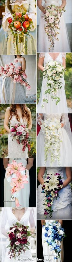 wedding bouquets / http://www.deerpearlflowers.com/cascading-wedding-bouquets/