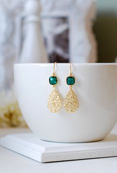 Emerald Green Earrings Gold Filigree Drop Earrings by LeChaim, $24.50