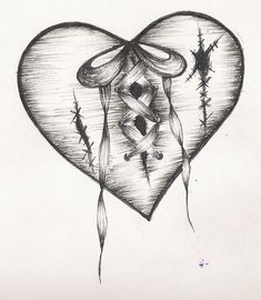 Broken heart ribbon stitches
