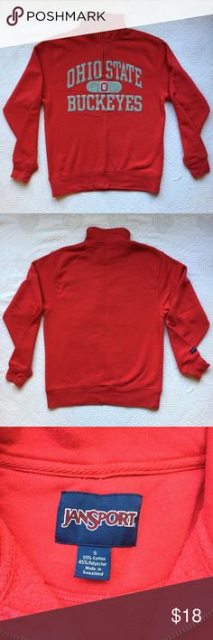 Jan Sport Ohio State Buckeyes Quarter Zip Red - Size S  - Cotton blend - Bust - 40 in.  - Inseam - 15 in.  - Sleeve - 26 in.  - Total Length - 26 in.  - Collar - 3.5 in. Jansport Tops Sweatshirts & Hoodies