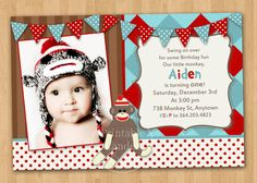 Cute!!!!    Sock Monkey Birthday Invitation  Custom by printablecandee on Etsy, $10.00