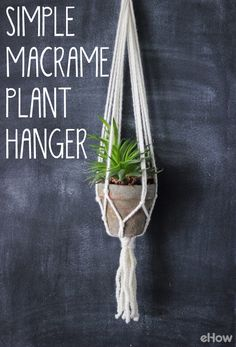 DIY this beautiful macrame plant hanger to hang in any (and every) room in your home. It's simpler than it looks and only requires a few things! Great beginner project: http://www.ehow.com/how_7812875_make-simple-macrame-plant-hanger.html?utm_source=pinterest.com&utm_medium=referral&utm_content=freestyle&utm_campaign=fanpage