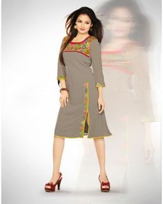 Designer Georgette Grey Kurti Cum Dress