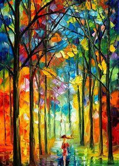 Under the Umbrella by L. Afremov
