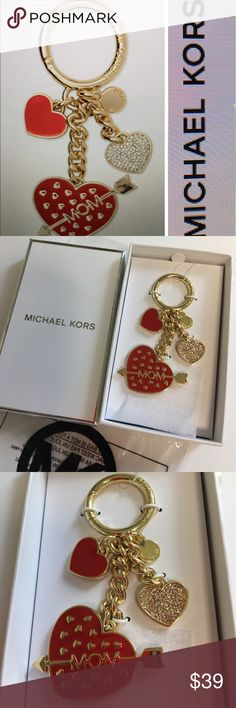 ❤️NWT MICHAEL KORS MOM ❤️KEYCHAIN ❤️ Show some love with this glamorous the keychain from Michael Kors finished with the sparkle shine and plenty of heart approximately 3 inches embossed key ring gold tone exterior hardware and pave embellishments Michael Kors Accessories Key & Card Holders