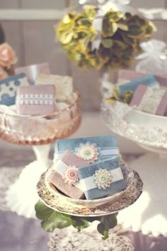 Soap Favors - Wedding or Bridal Shower - Beautifully Wrapped Custom Handcrafted Half Bar 25 pack