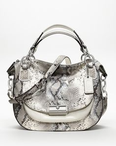e11d1e85cc3 My new summer bag is the Coach Kristin round satchel in embossed python and  white leather