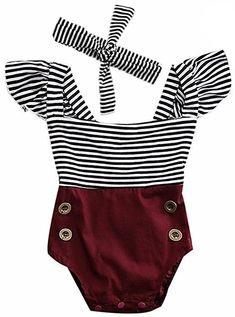 680355239 2Bunnies Newborn Toddler Baby Girl Striped Romper Bodysuit+Headband Sunsuit Outfit  Set (6M,