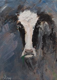 Holstein Cow Modern Expressionist Painting Gray Artus #Cow