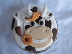 "This is the cake Karis wants for her birthday. She saw it about a month ago and has brought it up several times. ""I want my cow cake, mama. Cow Cupcakes, Cupcakes Flores, Cupcake Cakes, Crazy Cakes, Fancy Cakes, Pretty Cakes, Cute Cakes, Farm Animal Cakes, Farm Cake"