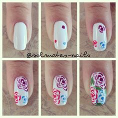Image via Pink HIBISCUS solids and stripes nail art. Pretty, elegant, love it. Image via One stroke Blue Rose Nail Art Tutorial! Image via Peach rose nails photo Image via Rose Nail Design, Rose Nail Art, Flower Nail Art, Nail Art Diy, Diy Nails, Cute Nails, Nail Flowers, Floral Design, Draw Flowers