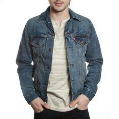 Levis Mens Trucker Dark Summit Button Front Denim Jean Jacket Size L - Designer-Find Warehouse