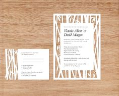 bamboo papercut wedding invite and rsvp