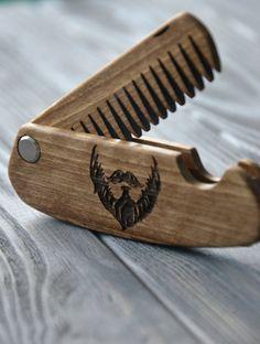 Folding comb Walnut Beard comb Personalized custom engraved wooden comb For men him. Fear the beard. Beard comb, moustache comb, hair comb