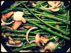 asparagus & mushrooms cooked in coconut oil; recipe here: http://loisolson.com/asparagus-cooked-in-coconut-oil-yum/
