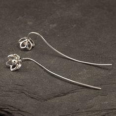 Silver Flower Earrings Sterling Silver Dangle Earrings by Artulia, $38.00