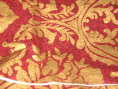 HEAVY Gold Leaf Motif Stamped on Red Background - 60 inches wide, 4 yards available By the Yard by RoseAltheasNook on Etsy Vintage Fabrics, Red Background, Gold Leaf, Nook, Linens, Yards, Cotton Fabric, Stamp, Trending Outfits