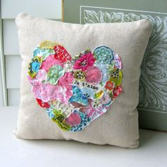 Heart  Pillow Fabric Scrap Pillow French  Pillow by tracyBdesigns, $18.00