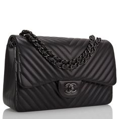 awesome Chanel So Black Chevron Jumbo Double Flap Bag | 1stdibs.com