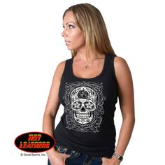 Hot Leathers Ladies Sugar Skull Boy Beater Black Ribbed Tank Top Xlarge