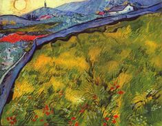 """Enclosed Wheat Field with Rising Sun, May 1889. In May Van Gogh wrote to Theo, """"Through the iron-barred window I see a square field of wheat in an enclosure, a perspective like Van Goyen, above which I see the morning sun rising in all its glory. The stone wall, like a picture frame, helped to display the changing colors of the wheat field."""" He has made about twelve paintings of the view of the enclosed wheat field and the distant mountains that he could see from his cell at Saint-Paul…"""