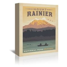 National Park Mount Rainier Vintage Advertisement on Wrapped Canvas at Wayfair - Great Deals on all Décor & Pillows products with Free Shipping on most stuff, even the big stuff.