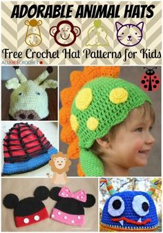 Adorable Animal Hats: 41 Free Crochet Hat Patterns for Kids | AllFreeCrochet.com