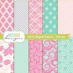 Digital Scrapbook Papers and Digital Paper von hazyskiesdesigns, $5.00