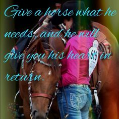 Give a horse what he needs...