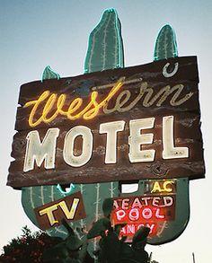 neon: Western Motel TV Heated Pool...