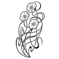 poppy and art nouveau lines