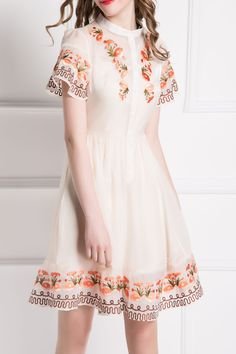 By megyn Off-white Bell Sleeve Embroidery Dress | Knee Length Dresses at DEZZAL
