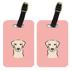 Pair of Checkerboard Pink Yellow Labrador Luggage Tags BB1222BT