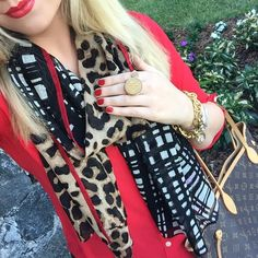 Mixed print scarf + monogram ring