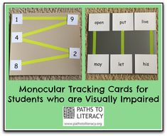 These monocular tracking cards can be helpful to students just learning to use this type of magnification.