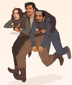 """""""Cassian collecting new recruits to Rebel ranks Rogue One. One daughter of the imperial scientist and one imperial cargo pilot. Perfect."""""""