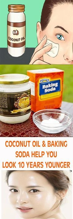 COCONUT OIL & BAKING SODA HELP YOU LOOK 10 YEARS YOUNGER #beauty #bakingsoda #skin #skintags #remedies