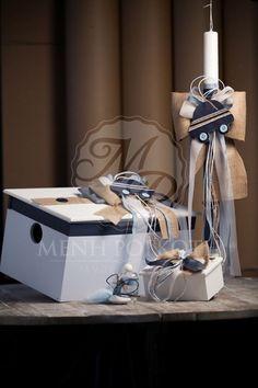Σετ βάπτισης κουτί, λαδοσέτ και λαμπάδα, διακοσμημένα με αυτοκίνητο Baptism Candle, Baby Boy Baptism, Candels, Baby Decor, Christening, Wedding Cakes, Projects To Try, Baby Shower, Birthday
