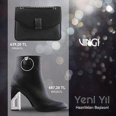 Yeni Yıl partisinde ne giyeceğinize henüz karar veremediyseniz size önerimiz VINGI'den topuklu deri bot ve deri küçük çanta. 🏷Bot Ürün Kodu: 740-7338 🏷Çanta Ürün Kodu: 20K5406Z7461