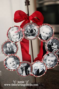 Family Photo Wreath - Love this DIY Christmas Gift idea!