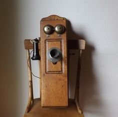 Antique Wood Telephone ~ Western Electric Magneto Wall Phone ~ Coffin Box Phone ~ Oak ~ Vintage Technology