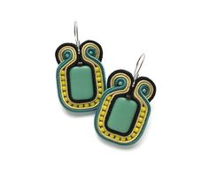 Mint Green and Yellow Earrings, Soutache Earrings with Surgical Steel Hooks for Sensitive Ears