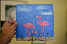 Tonight's quick #painting was another flamingo for my mom. I learned a lot tonight. 1) Its a lot harder to paint quickly (for me) in #acrylic than it is with watercolor. 2) I need to paint the background first and then sketch the detail on top of that. I think I like it better though when I DON'T sketch the detail. #acrylicpainting
