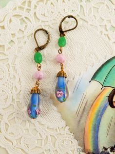 upcycled lampwork beaded earrings / boho earrings / boho chic / rose earrings / vintage beads / flower beads / boho jewelry / lampwork beads by EleanorandLorena on Etsy