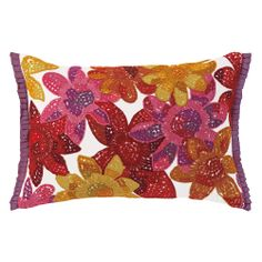 Lush and lively floral embroidery blooms on Tilda Pillow in Azalea. #accentpillows #decorativepillows #companyc #floralpillows