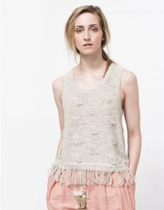 From Creatures of Comfort, a tank top with fringe detailing at the hem and front. Fringe Fabric, Fringe Tank, Cactus Print, Beauty Supply, Comfortable Outfits, Pull, Tank Tops, Lace, Creatures