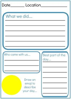 How to make and write an amazing kids travel journal! With a free printable wor… How do I create and write a great children's travel diary? With a free printable worksheet with travel journal prompts for kids …. Summer Journal, Travel Journal Pages, Travel Journals, Travel Journal For Kids, Bullet Journal For Kids, Journal Printables, Kid Printables, Diy Voyage, Road Trip Activities