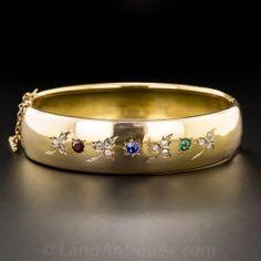 18K Diamond and Multi Colored Stone Victorian Bangle Bracelet - Vintage Jewelry